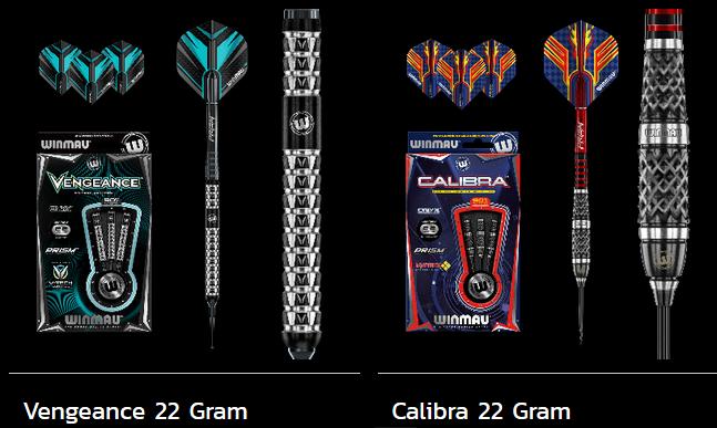 Dardos de la marca Winmau. En concreto, los Vengeance y los Calibra de 22 gramos (están disponibles en otros pesos también)