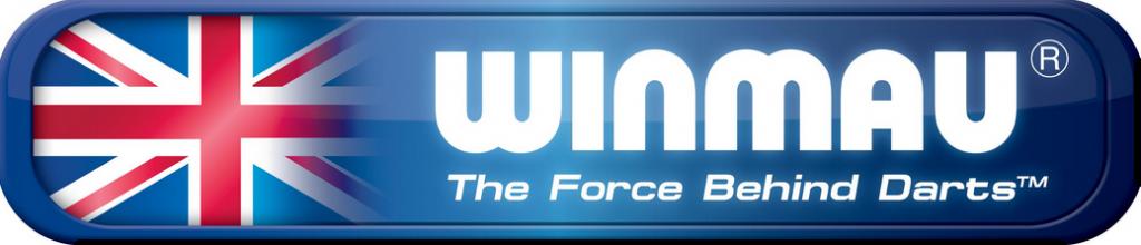 Logotipo de la marca de dardos Winmau con su lema: La fuerza de los dardos.